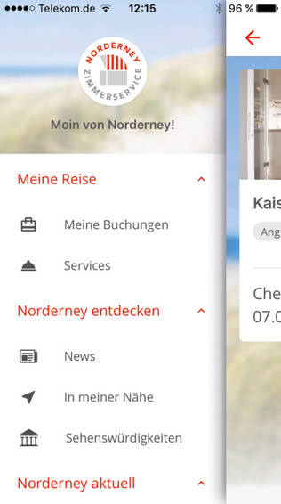 Norderney Zimmerservice App (Detail)
